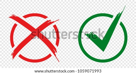 Acceptance and rejection symbol vector buttons for vote, election choice. Circle brush stroke borders. Symbolic OK and X icon isolated on white.Tick and cross signs, checkmarks design