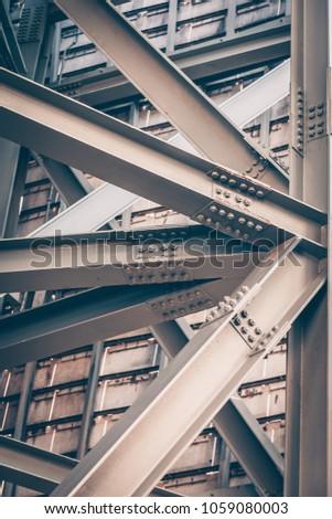 Steel Bridge frame close up. Toned image #1059080003