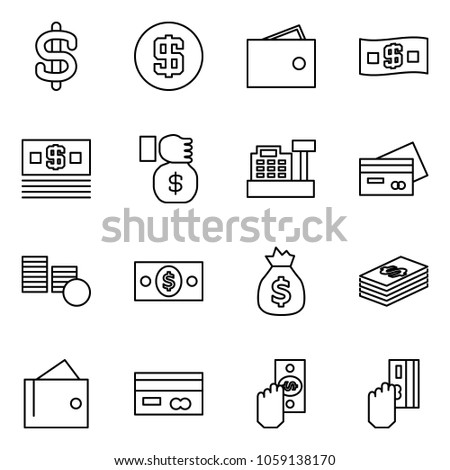 Flat vector icon set - dollar sign vector, wallet, money, investment, cashbox, credit card, coins, bag, cash, pay #1059138170