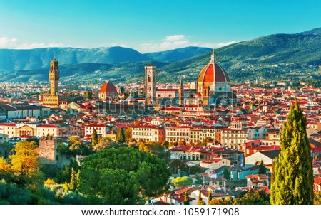 View of Florence, Ponte Vecchio, Palazzo Vecchio and Florence Duomo, architecture,landmark and Florence skyline view from Piazzale Michelangelo, Italy #1059171908