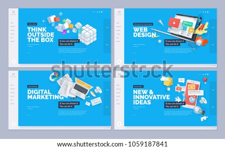 Website designs collection. Vector illustration template for website and mobile website design and development. Creative concept, easy to edit and customize.