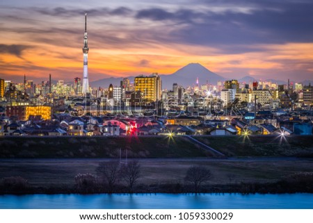 Tokyo city view and mt. Fuji after sunset