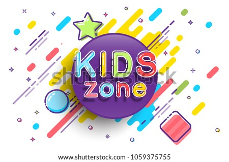 Kids Zone banner template. Vector colorfull illustration.