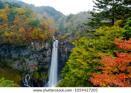 Kegon Waterfall from lake Chuzenji in Nikko national park , Kegon waterfall against white isolated sky in landscape  and autumn trees in front, beautiful waterfall in autumn season in Tochigi ,Japan.