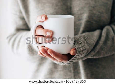 Closeup of female hands with a mug of beverage. Beautiful girl in grey sweater holding cup of tea or coffee in the morning sunlight. Mug for your design. Empty. #1059427853