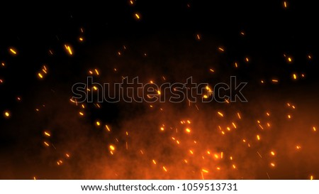 Burning red hot sparks fly from large fire in the night sky. Beautiful abstract background on the theme of fire, light and life. Fiery orange glowing flying away particles over black background in 4k