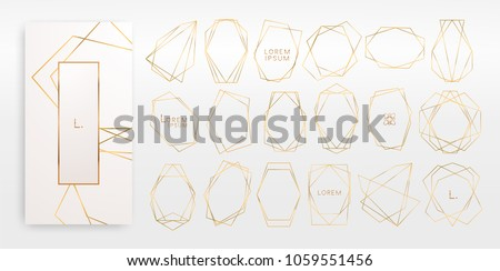 Gold collection of geometrical polyhedron, art deco style for wedding invitation, luxury templates, decorative patterns,... Modern abstract elements, vector illustration, isolated on backgrounds. #1059551456