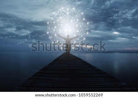 Abstract science, circle global network connection in hands on night sky background Royalty-Free Stock Photo #1059552269