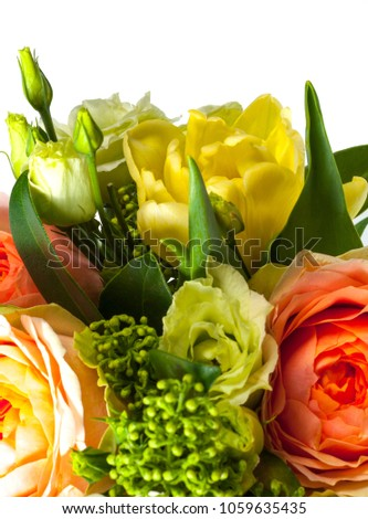 Various flowers close-up in a bouquet #1059635435