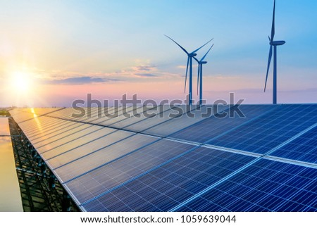 Solar panels and wind power generation equipment Royalty-Free Stock Photo #1059639044