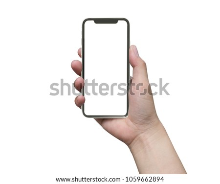 close up hand hold phone isolated on white, mock-up smartphone white color blank screen #1059662894