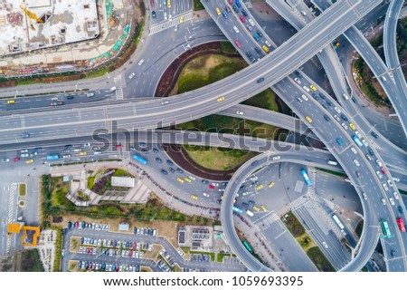 Aerial view of a massive highway intersection #1059693395