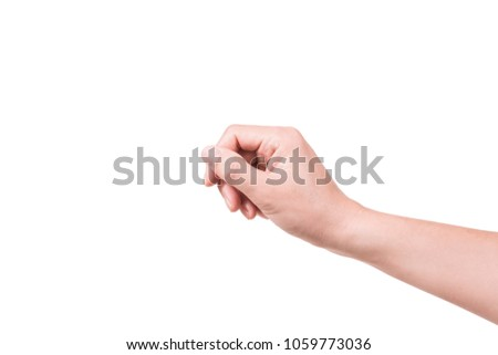 man hand holding virtual credit card on white background. #1059773036