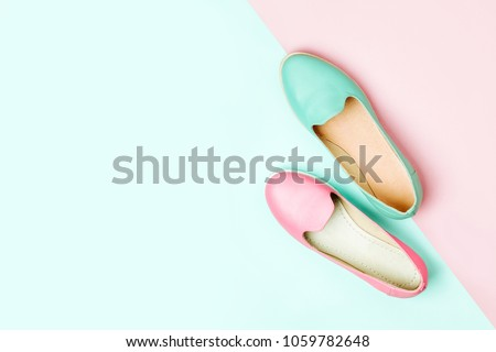Stylish female shoes in pastel colors. Beauty and fashion concept. Flat lay, top view #1059782648