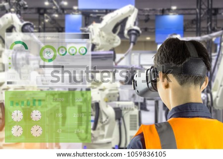 Industry 4.0 Robot concept .Engineers are using virtual AR to maintain and check the work of human robot in the 4.0 Smart Factory. #1059836105
