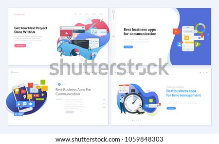 Set of creative website template designs. Vector illustration concepts for website and mobile website design and development, business apps, marketing, social media apps, time and project management.