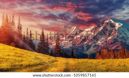 Awesome alpine highlands in sunny day. Scenic image of fairy-tale Landscape with colorful sky under sunlit, over the Majestic Rock Mountains. Wild area. Megical Natural Background. Creative image . #1059857165