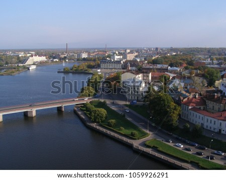 View of the Central part of Vyborg from the tower of St. Olaf. Russia #1059926291