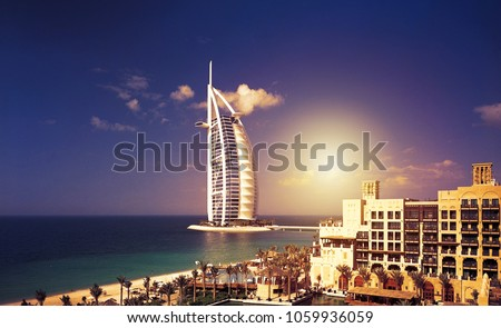Sunset In Dubai  Royalty-Free Stock Photo #1059936059