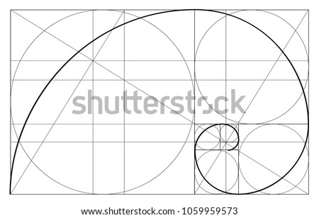Golden ratio template vector, Divine Proportions, Golden Proportion. Universal meanings. Golden spiral, method of golden section, Fibonacci array, Fibonacci numbers. Royalty-Free Stock Photo #1059959573