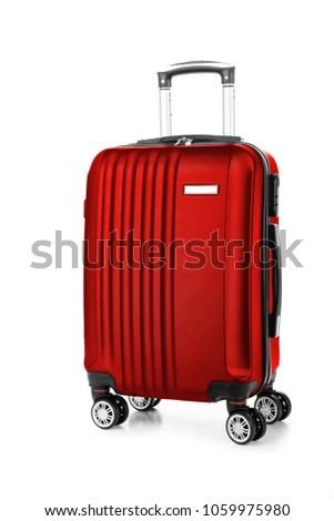 Travel suitcase isolated on white background. #1059975980