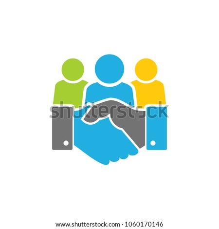 Handshake Group Logo Icon Design