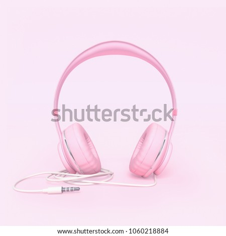 Headphone pink color with clipping path and copy space for your text. minimal and pastel concept, 3d render.