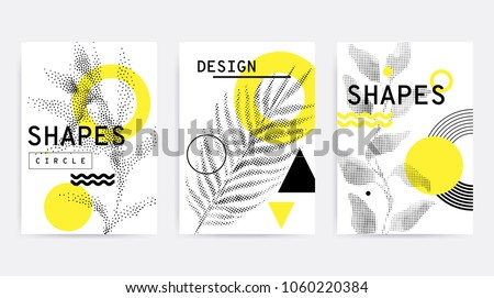 Universal trend poster juxtaposed with bright bold geometric leaves foliage yellow elements composition. Background in restrained sustained tempered style. Magazine, leaflet, billboard, sale #1060220384
