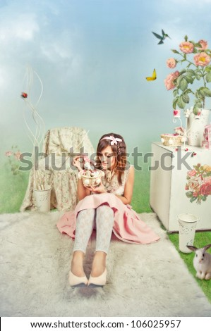 Girl in fairy background with flowers