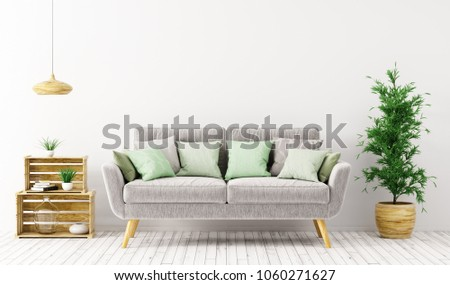 Modern interior design of living room with gray sofa over white wall 3d rendering #1060271627