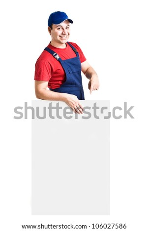 Friendly worker showing an empty board