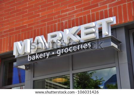 Grocery store signage in Calgary, Alberta