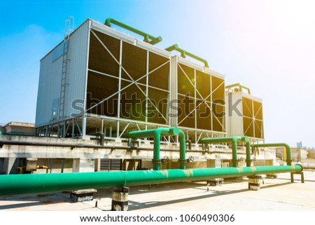 Sets of cooling towers in data center building. #1060490306
