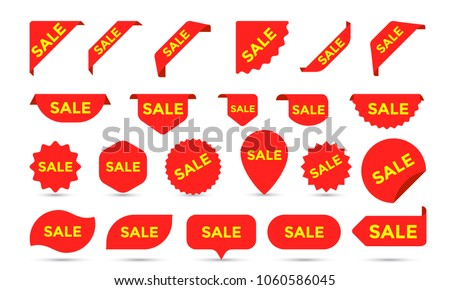 Sale Stickers shop product tags, labels or sale posters and discount banners vector sticker icons templates