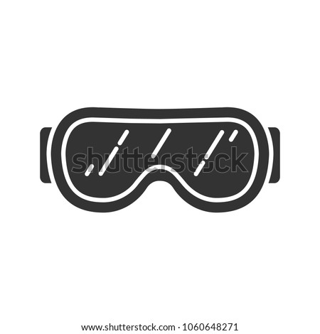 Ski goggles glyph icon. Snow glasses. Safety eyeglasses. Silhouette symbol. Negative space. Vector isolated illustration