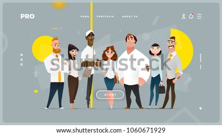 Main Page Web Design with Business Cartoon Characters in Flat Style for Your Projects Royalty-Free Stock Photo #1060671929