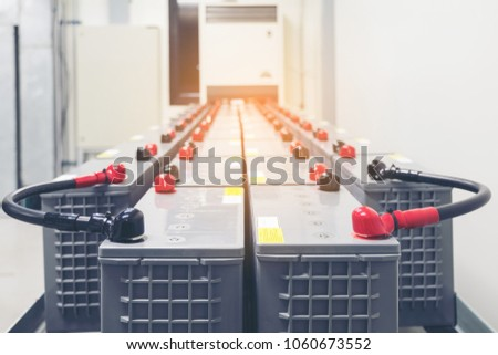 Battery pack in battery room in power plant for supply electricity in plant during shutdown phase, Rows of batteries in industrial backup power system. #1060673552