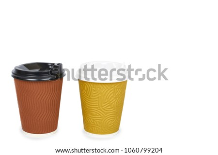 Two take out coffee in thermo cup. Isolated on a white background. Disposable container, hot beverage. copy space, template. #1060799204