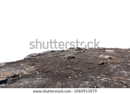 Cliff stone located part of the mountain rock isolated on white background. Royalty-Free Stock Photo #1060955879
