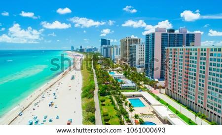 Aerial view of South Beach, Miami Beach, Florida, USA.  #1061000693
