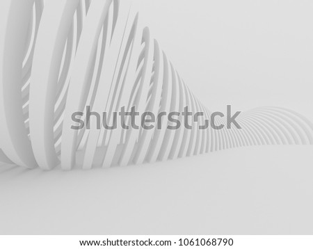 Abstract of white curved architectural pattern background,Concept of future modern facade design on architecture,3d rendering #1061068790