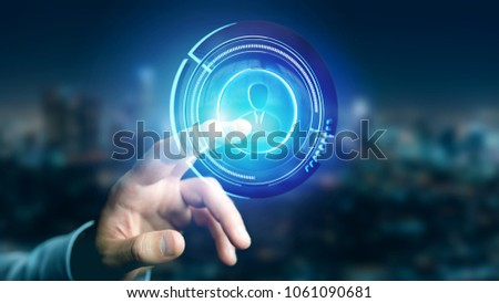 View of a Businessman holding a Shinny technologic network contact button  - 3d render #1061090681