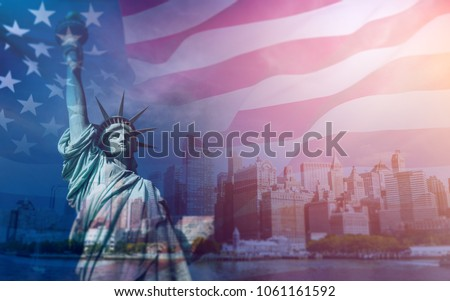 Double exposure with the American flag and the Statue of liberty. Background for independence day - 4th of July. Royalty-Free Stock Photo #1061161592