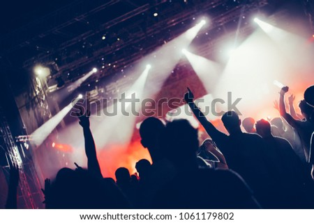 Cheering crowd with hands in air at music festival #1061179802