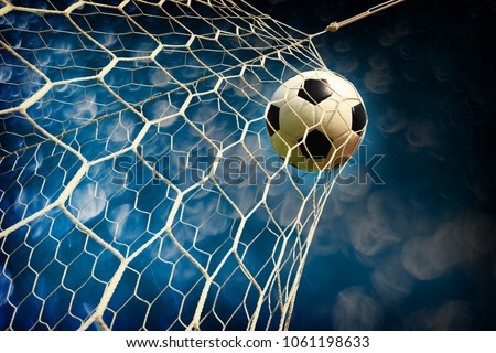 soccer field with a ball in goal Royalty-Free Stock Photo #1061198633