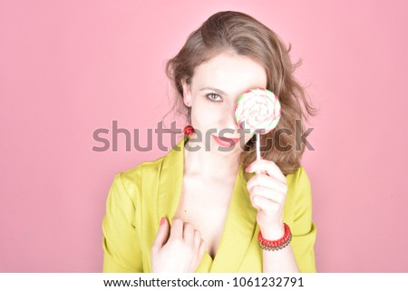 Sweet story with girl on the pink background #1061232791