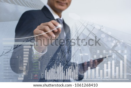 Stock market analysis, business intelligence, profits presentation, double exposure businessman analyzing financial graph, sector performance, financial background, cityscape, economic growth report #1061268410