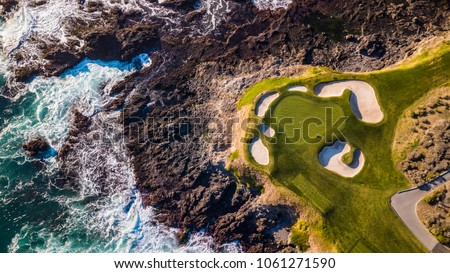 Drone view of the pebble beach golf course in Monterey California #1061271590
