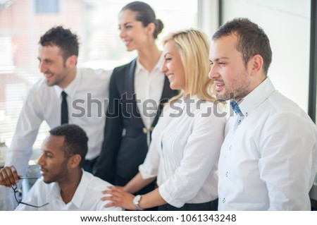 Group of business people discussing at meeting #1061343248