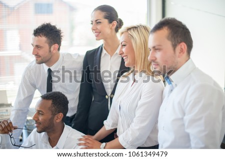 Group of business people discussing at meeting #1061349479